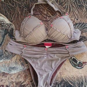 Betsey Johnson Brown and White Stripe Bikini